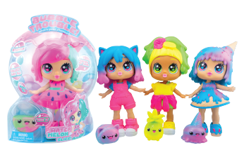 Bubble Trouble dolls are gumballs come to life! With stretchy, scented hair and soft, squishy outfits, each one has a sticky, smooshy Bubble Buddy bestie! Collect them all!